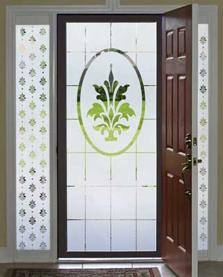Decorating storm doors and sidelights is easy and beautiful with decorative window films.