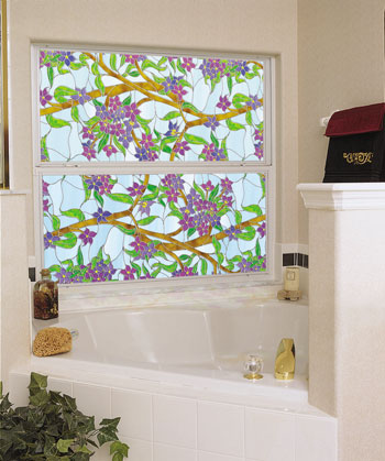 Decorate and add privacy to tub windows.