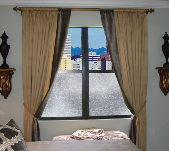 Add privacy to windows with decorative window films like Wallpaper For Windows Everleaf design.