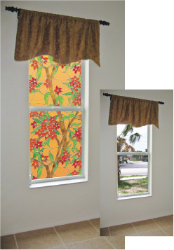 Hide a bad view with Mandalay Stained Glass decorative window film by Wallpaper For Windows.